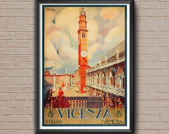 Vicenza, Travel Posters, Venice Poster, Venice Print, Venice Travel Poster, Venice Wall Art,  Venice Art Print,Venice Art
