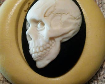 Cameo Cabochon Evil Dead skull, zombie, Day of the Dead,   Silicone push mold for resin, polymer clay, sugar craft- food safe, non toxic