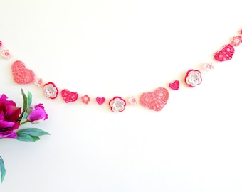Summer time decor - red hearts and flowers garland - crochet garland - gifts for mom - boho summer decor - Mothers day decor  ~47.3 inches