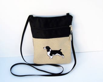 Black and White Springer Spaniel Dog Cross Body Flat Purse on Tan