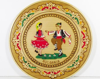 Bulgaria Collectors plate hand painted wood burning hand made