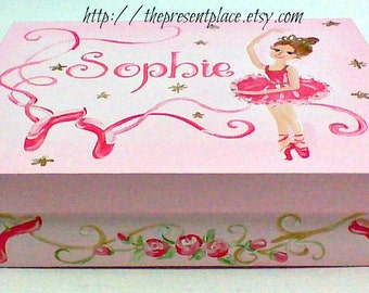 Large,ballerina, keepsake box personalized,customized,pink,gold,white,ballet themed box,ballet box,girls memory box, children's boxes, pink