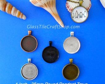 20 Round Pendant Trays - Choose Color: Copper, Bronze, Antique Silver, Silver, Black. (25MRDTMIX)