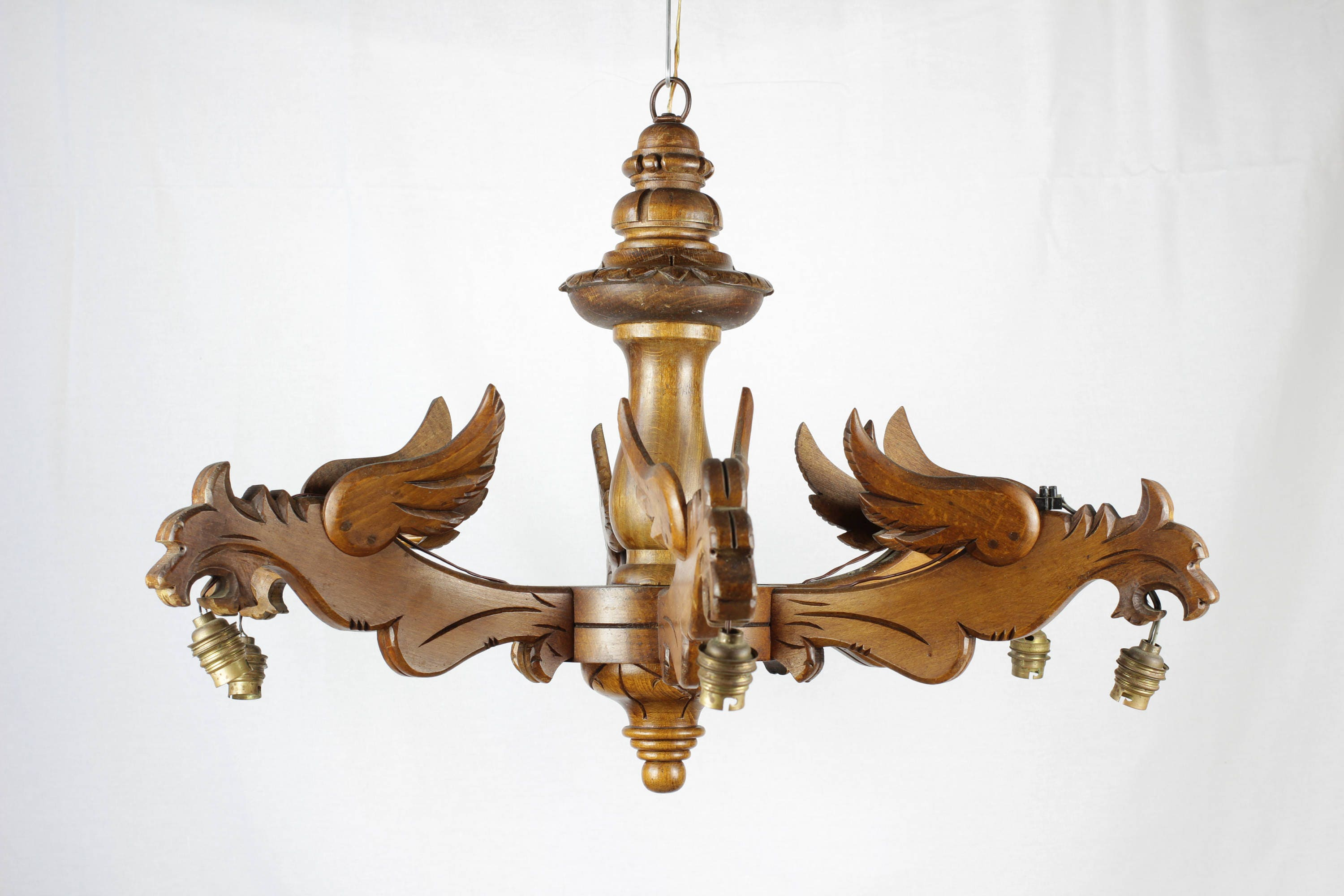 Dragon Light Vintage French Solid Wood Dragon Chandelier