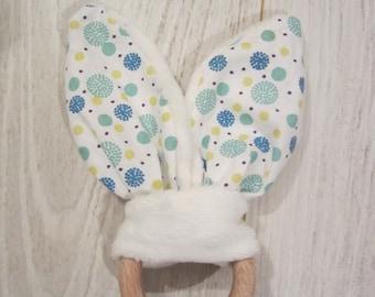 Baby bunny ears teething ring