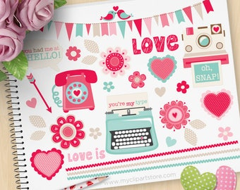 Retro Valentine Clipart, Valentine's Day, Scrapbook, typewriter, old phone, polaroid camera, Commercial Use, Vector clip art, SVG Cut Files