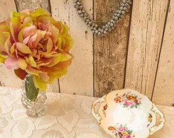 Vintage George Jones & Sons Junetime China White, Floral and Gilded Bon Bon Dish