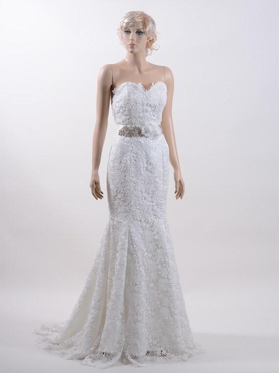 Probe Kleid Verkauf trägerlos ganzen Spitze Brautkleid
