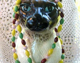 SALE Vintage  Multi-Color Glass Beads Long Necklace. Wrap, Greens, Yellows, Browns, Pink. Fall Colors