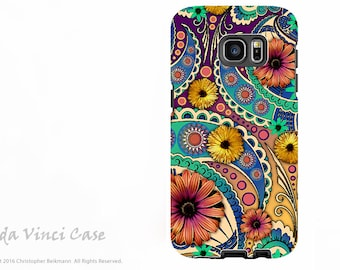 Colorful Paisley Case for Samsung Galaxy S7 EDGE - Premium Dual Layer Galaxy S 7 EDGE Case with Floral Art - Petals and Paisley