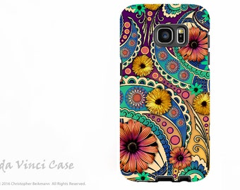 Colorful Paisley Floral Case for Samsung Galaxy S7 - Premium Dual Layer Galaxy S 7 Case with Art - Petals and Paisley - By Da Vinci Case