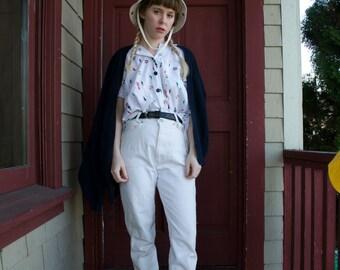 high rise cream mom jeans! - 7/8