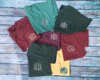 FREE SHIPPING! Monogram Comfort Color Pocket T-Shirt (Adult)