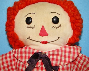 Raggedy Andy Doll Brown Features Red Nose 15 inch