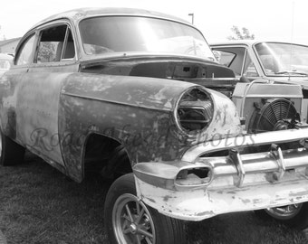 5 x 7 matted photo, black and white  vintage car photograph