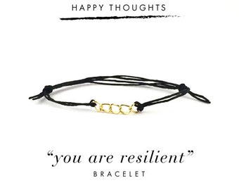 You Are Resilient Bracelet For Happy Thoughts / Black Hemp, Gold Links, Dainty Minimalist Simple Thread Bracelet, Gift, Stocking Stuffer