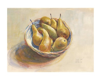 Golden Pears, watercolor and gouache painting. PRINT of brown pears still life painting. Original painting by Catalina.