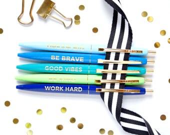 Positive Pens, Set of 5 pens, Motivational pens, Black Ink Pen, Cute Desk Accessory, Teacher Gift, Stocking Stuffer, Cute Pen, TED044-PEN