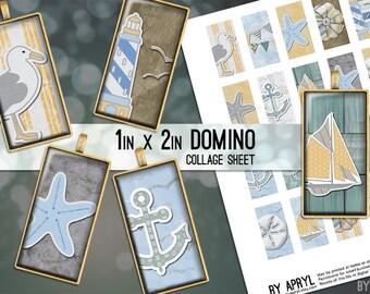Beach Ocean Nautical 1x2 Domino Collage Sheet Digital Image for Domino Pendants Magnets Scrapbooking Journaling JPG D0065