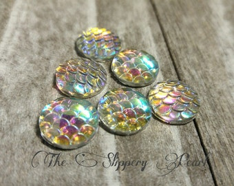 Mermaid Scale Cabochons 12mm Clear Round Cabochons Dragon Scale Cabochons Flat Back Embellishments 6 pieces