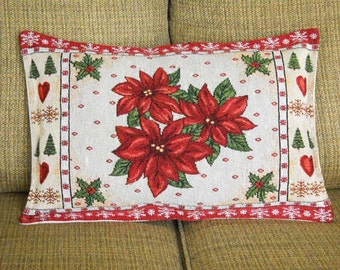 Christmas Tapestry Pillow Poinsettia Snowflakes Trees and Hearts Christmas Decor