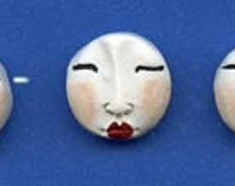 3 White Polymer Detailed  Asian Face  Beads Side drilled WAB 3