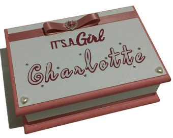 Dusty Pink & White Baby Box, Keepsake Box, Christening Box, Baptism Box, Trinket Box, Treasure Box, Jewellery Box, Memory box, Wooden Box