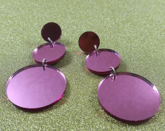 Pink Mirror Disco Earrings - lasercut acrylic