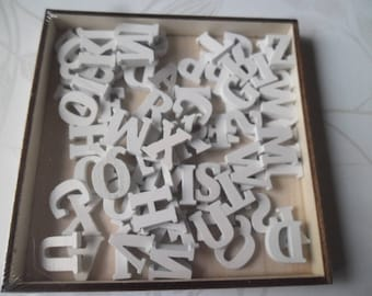 x 1 box of 104 mixed letters/alphabet A - Z wooden white color paste 15 mm