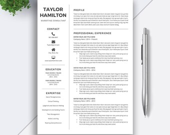 5 Pages Resume Template / CV Template | Word Resume | Cover Letter | Creative and Modern Resume | Teacher CV | Professional Resume | TAYLOR