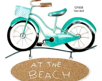 """Beach Sign """"At the Beach"""" Metal Wall Art CF006"""