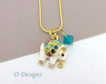 Elephant Necklace, Tarnish Resistant Gold Plated Elephant Birthstone Necklace