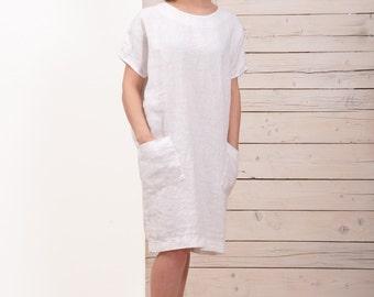 Womens Linen Dress - White Dress - Tunic Dress with Pockets - Plus Size Linen Dress - Linen Summer Dress - XL Dress - XXXL -Linen Tunic