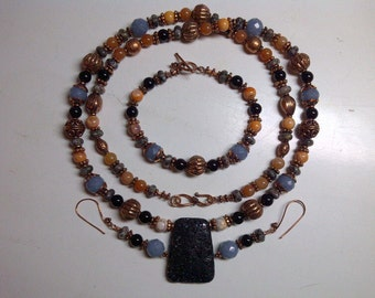 Necklace Bracelet Earrings Copper Lava Fossil Angelite Onyx matching set
