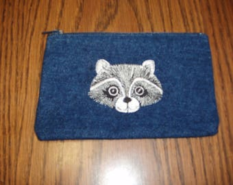 Racoon Coin Purse,  Animal coin Purse, Clutch bag, Denim Clutch Bag