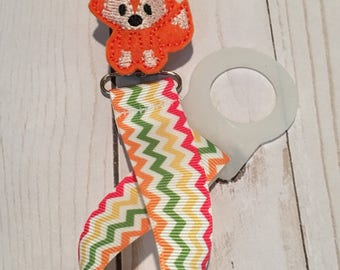Pacifier Keeper -Paci Clip - Fox - Shower Gift - Baby Accessory