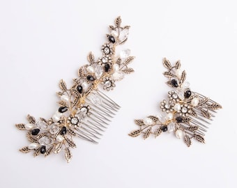 Vintage Gold Bridal Hair Comb, Bridal Headpiece, Wedding Hair Comb, Beaded Vintage Floral Comb with Gold Leaves