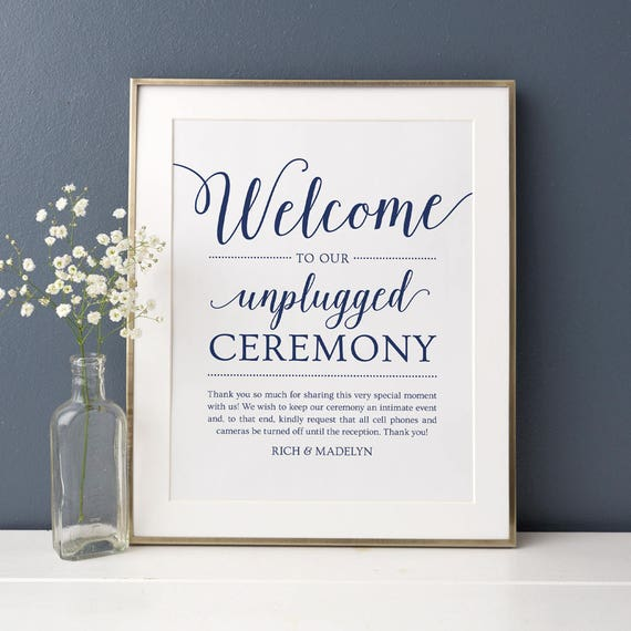 Unplugged Ceremony Sign Wedding // Editable Wedding Sign