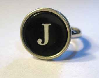 Vintage Typewriter Ring Black and White Your Choice of Letter or Number