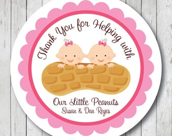 Our Little Peanuts . Personalized Twin Baby Shower Stickers, Labels or Tags