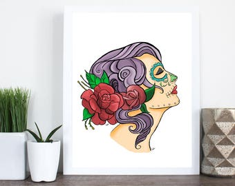 Sugarskull, Sugarskull woman, Colorful, 8x10