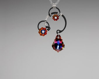 Swarovski Crystal Pendant, Volcano Crystals, Industrial Pendant, Swarovski Necklace,  Wire Wrapped, Youniquely Chic, Eos v10