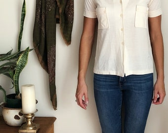 Vintage creamy white cotton button down short sleeve blouse with interesting collar.