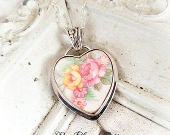 Broken China Jewelry Vintage Yellow Peach Pink Roses Sterling Pendant Necklace