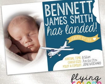 Travel Birth Announcement.  Baby Girl Baby Boy Birth Announcement. Personalized Picture Birth Announcement. New Baby. Plane. Clouds. Pilot.
