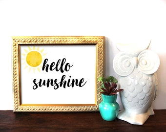 Hello Sunshine, Typography Print, Watercolor, Printable Art, Digital Print, Sunshine, Spring, Spring Decor, Kitchen Decor, INSTANT DOWNLOAD