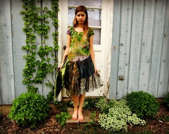 XS-Small Woodland Upcycled Silk Bohemian Gypsy Dress// Green// OOAK reconstructed// emmevielle