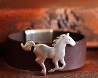 Horse Bracelet Leather Bracelet Wide Bracelet Equestrian Jewelry Horse Lover Gift Rider Jewelry Horsewoman Horseman Silver Cuff Under 50