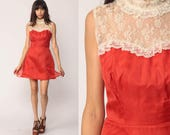 Lace Party Dress Mini 70s Cocktail Boho Party SWEETHEART Neckline Rust Red Victorian Cocktail High Neck Bohemian Vintage Hippie Extra Small