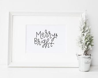 Merry and bright print // 8x10 print // Christmas printable // Christmas wall art print